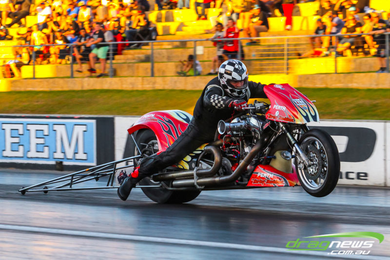 Mark Drew rode to a new national record in Top Fuel Motorcycle.