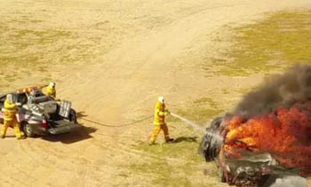 Actual fire fighting technics related to vehicle fires are simulated.
