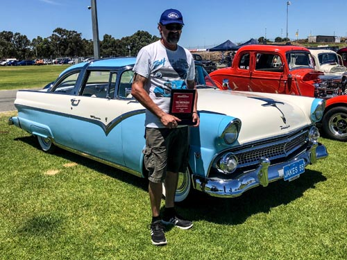 Top Custom Winner Jake Anderson 55 Ford Fairlane Crown Victoria